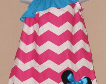 Disney Minnie Mouse Inspired Baby Toddler Dress - Ruffled One Shoulder Dress -Pink Teal Chevron -Great for Disney Trips Birthdays