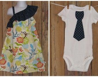 LAST ONE- Brother Sister Set - Ruffled One Shoulder Hummingbird Dress Boys Tie Shirt - Baby Toddler -Easter Spring Summer
