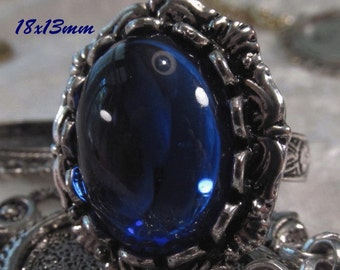 CZECH GLASS - 18x13mm Cabochon - Sapphire - 1 pc : sku 06.06.13.11 - S11