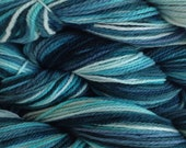 Hand Painted Merino Wool Worsted Weight Yarn in Beach Glass Hand Dyed Mint Green Blue Teal