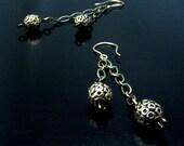 CHAINS & BRASS- Dangle Earrings- Vintaj Chains, 2 Flirty Brass Bead Dangles, Gold Earwires--