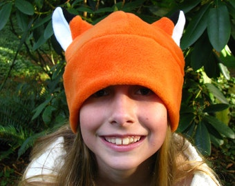 Fox Hat - Orange Fleece Fox Ear by Ningen Headwear