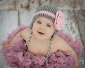 Crocheted  Grey with pink stripe and flower Earflap hat only