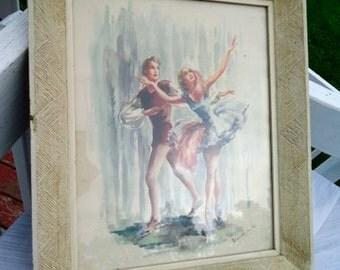 Vintage Mid Century Marchaude Ballet Large Framed Print