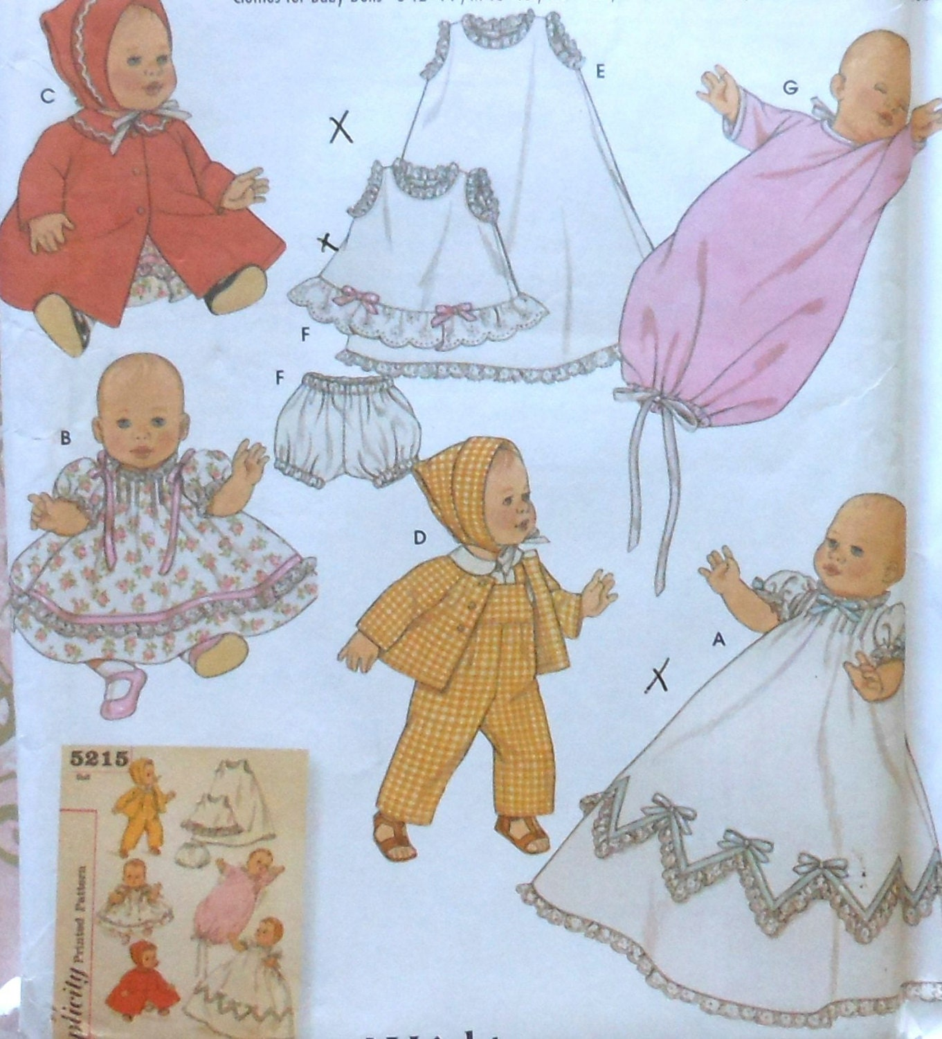 Baby Doll Clothes Sewing Pattern UNCUT Simplicity 5215 dress