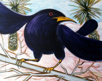 Grackle (acrylic painting, desert, bird, new mexico, chihuahuan desert, nature, land of enchantment, las cruces, white sands, yucca)