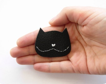 Black   Cat brooch, crazycatlady leather pin, animal brooch