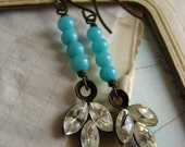 Shabby Chic Vintage Rhinestone Drop Earrings –blue green, bridal, turquoise blue, assemblage