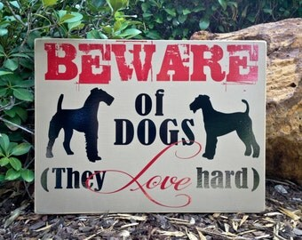 12x18 Beware of Dog  - Custom Breed painted wooden sign for outdoors or indoors