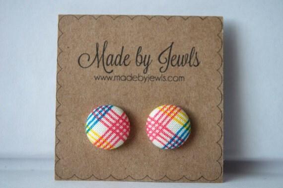 Fabric Button Earrings - Rad Plaid - Buy 3, get 1 free
