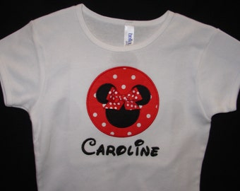 Personalized Minnie t-shirt  Red and White Polka Dot & Black (Adult)