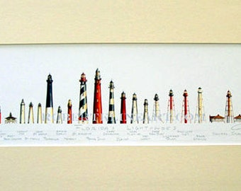 """Lighthouses of Florida Art Signed Robert Kline Matted 10"""" x 20"""" Print Key West Cape Canaveral St Augustine Nautical Home Beach House Decor"""