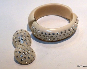 Vintage Cream Celluloid Thermoplastic Hinged Bracelet Earrings Clear Rhinestones