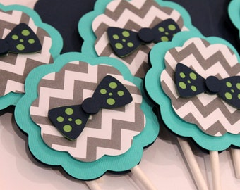 BowTie Navy Lime Green Turquoise Gray Chevron Stripe Polka Dot CUPCAKE TOPPERS Boy Baby Little Man Shower Birthday Party Decorations Decor