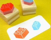 Building Blocks Hand Carved Rubber Stamp - Bricks Rubber Stamp - Gift for Boys  - Stocking Stuffer -