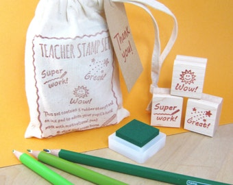 Teacher Stamps - Teacher Rubber Stamp Set - Gift for Teacher - Teacher Gift - Teacher Present - Teacher Appreciation - Child Reward Chart
