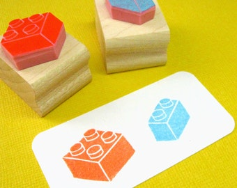 Building Blocks Hand Carved Rubber Stamp - Bricks Rubber Stamp - Gift for Boys  - Stocking Stuffer  - Stocking Filler - Scrapbooking Block