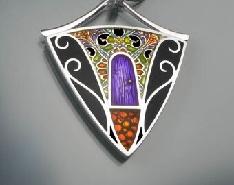 Ivy Woodrose PMC, sterling and resin pendant