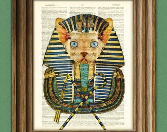 Pharaoh Cat King Sphynx the Egyptian Cat  rules the sands illustration beautifully upcycled dictionary page book art print