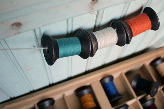 6 Blackened Colorful Thread Spools - Primitive 2 Inch Wooden Bobbins - Set of 6 Rustic Decor