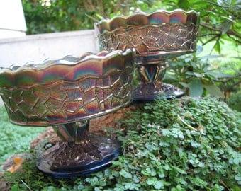 Dessert Dishes - Sherbet -  Sauce - Carnival Glass - Cobalt Blue - Set of TWO - Fenton? - Irridescent - Metallic -