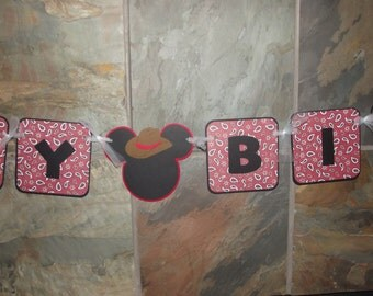 Cowboy Happy Birthday Mickey Banner Cowboy Hat Banner Red Bandanna Banner Kids Party Photo Prop Party
