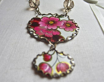 tin and crystal necklace - vintage tin, upcycled,  the Gatsby Collection, a statement necklace in pink cherry blossoms