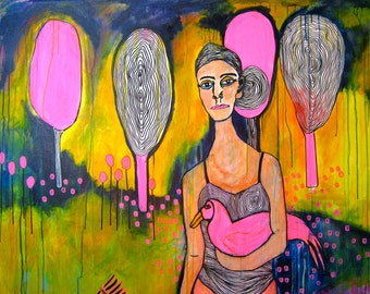 Large acrylic mixed media painting Girl Bird Pink drawing original artwork canvas painting surreal figurative naive childlike jamie hudrlik