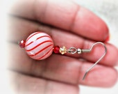 Pink Red Hand Blown Glass Lampwork Round Swirl Earrings with Swarovski crystals - pipsous