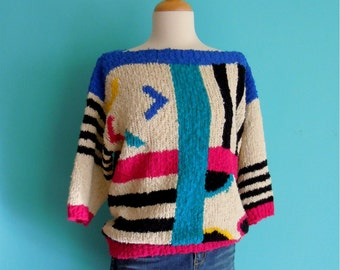 vintage 80's multi color striped sweater // geometric shapes knit pull over
