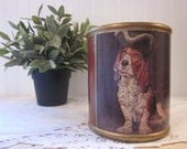 vintage Basset Hound Crock Planter. Made in Italy. Rosso Dog wearing Hat, Jabot. Rustic Distressed Art piece.