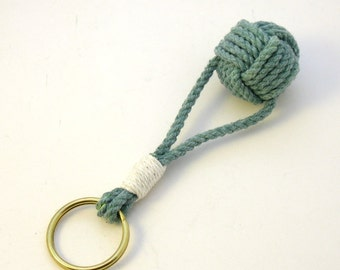Monkey Fist Keyring Green Cotton Whipped to a Brass Split Ring