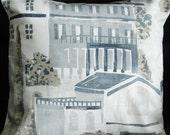 Pillow Spain Spanish villas 16 inch cushion cover blue white gray grey palm trees