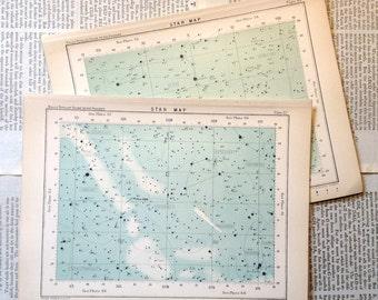 1910 set of 2 star maps original antique celestial chart astronomy prints - nos. 60 & 62