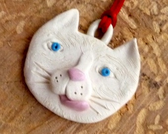 White kitty cat with blue eyes  pendant or ornament