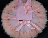 Baby Girls Birthday Tutu Dress Outfit, Peachy Pink Blossom Tutu Dress