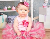 Pink and Mint Cupcake Tutu Dress Outfit for Baby Girls Birthday Party