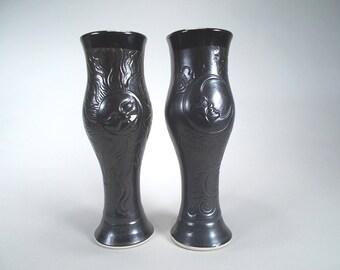 Pair of Sun and Moon Pilsner Beer Glass or Dinnerware Tumbler-Black Satin Matt glaze - Original Fantasy Art  Pottery- Home Decor- Kitchen