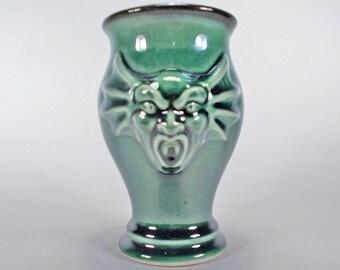 Beer Mug with Vampire Gargoyle - Pilsner Cup - Green Glaze (16oz) Stoneware Pottery - Made To Order