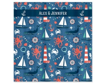 Nautical Toss Personalized Childs Shower Curtain -  Children's Kids Bathroom Shower Curtain
