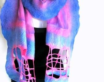 Nuno Felted Scarf, Pastel Blue Pink, Lattice Scarf, Silk Merino Wool Felted Wrap