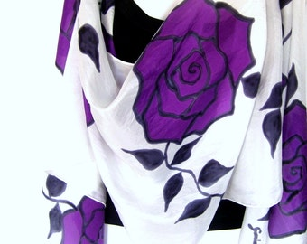 "Hand Painted Silk Scarf, Roses, Purple Black White, Floral Silk Scarf, 71"" x 18"", Gift For Her"
