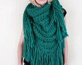 The Lola Scarf in Blue-Green Heather 100% Ultra-Soft Wool (Choose your color!)