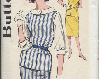 1960's Butterick Pattern No. 9631 : Overblouse with Cuffs , Cowl Collar and Pencil Slim Skirt  Bust 36