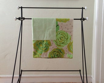 Green Rose Baby or Toddler Lovey Blanket.  Soft and Cuddly Flannel Infant Blanket