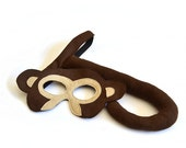 Kids Monkey Costume, Children Carnival Halloween Mask and Tail,  Eco Friendly Dress up for Girls Boys and Toddlers