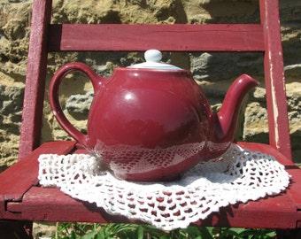 Vintage Cranberry Colored Tea Pot