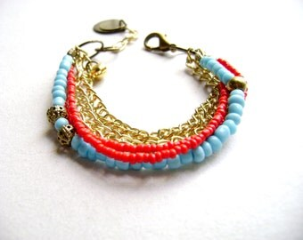 Bohemian bracelet  red turquoise color block boho style stacking stack bracelet - Blushing -