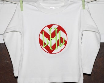 TShirt with Red Chevron Applique...You Design...Add Name or Initials FREE