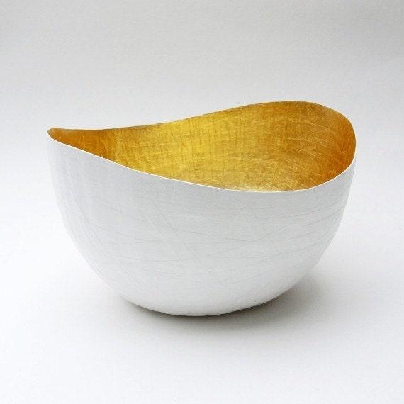 Paper Mache Vessel, White and Gold, Paper Mache Bowl, Gold Leaf Bowl, Paper Vase, Gold Decor, Paper Art